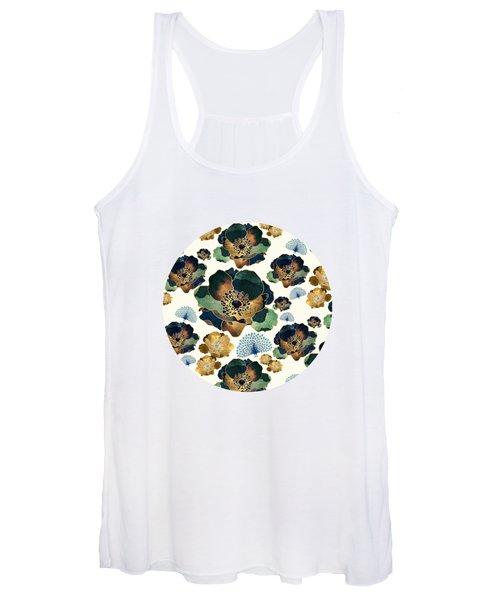 Indigo Flowers And Peacocks Women's Tank Top