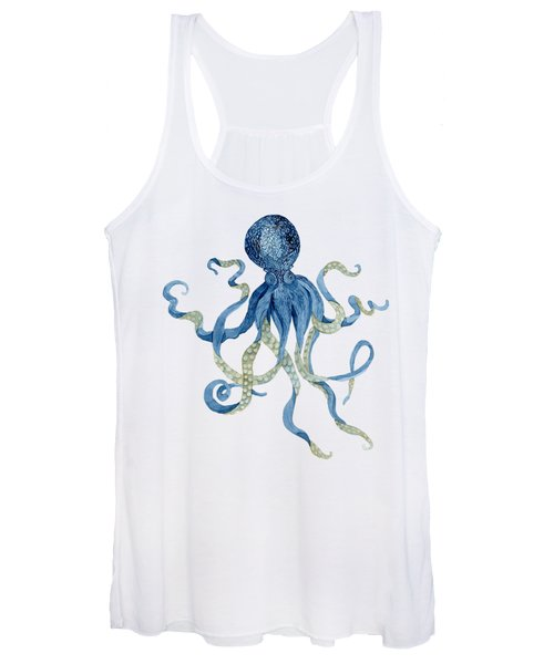 Indigo Ocean Blue Octopus  Women's Tank Top