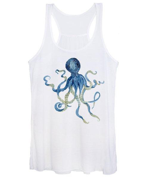 Indigo Ocean Blue Octopus  Women's Tank Top