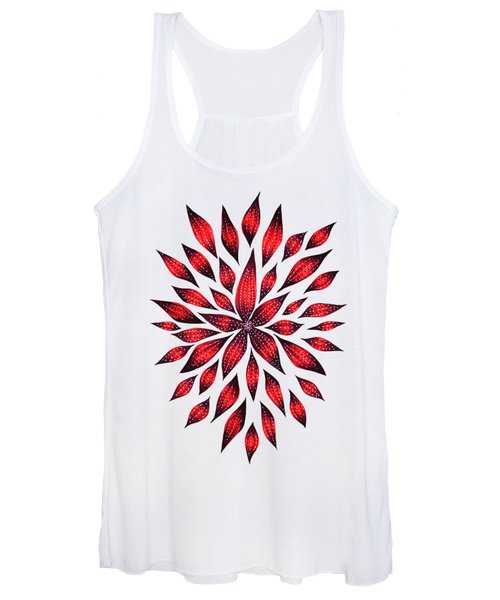 Ink Drawn Abstract Red Doodle Flower Women's Tank Top