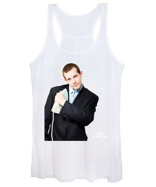 Isolated Business Person Ironing Suit Jacket Women's Tank Top