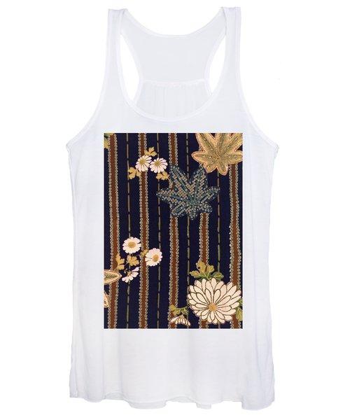Japanese Maple And Chrysanthemum Modern Interior Art Painting. Women's Tank Top