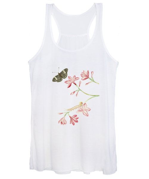 Jasmine Shrub With Red Flowers Caterpillar And Butterfly By Cornelis Markee 1763 Women's Tank Top