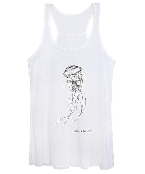 Jellyfish Sketch - Black And White Nautical Theme Decor Women's Tank Top