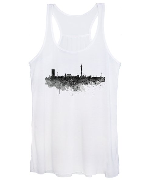 Johannesburg Black And White Skyline Women's Tank Top