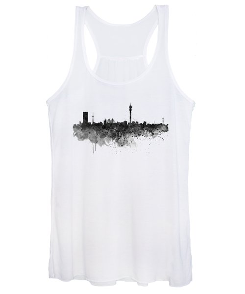 Johannesburg Black And White Skyline Women's Tank Top