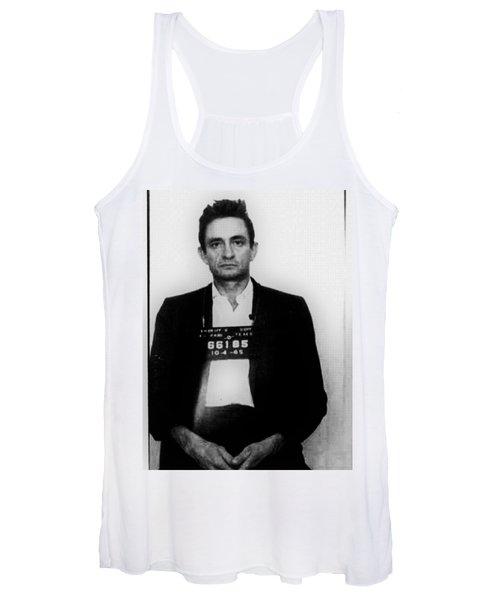 Johnny Cash Mug Shot Vertical Women's Tank Top