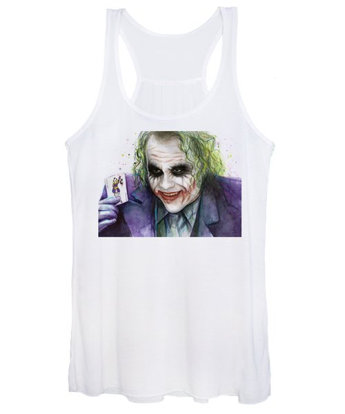 Joker Watercolor Portrait Women's Tank Top