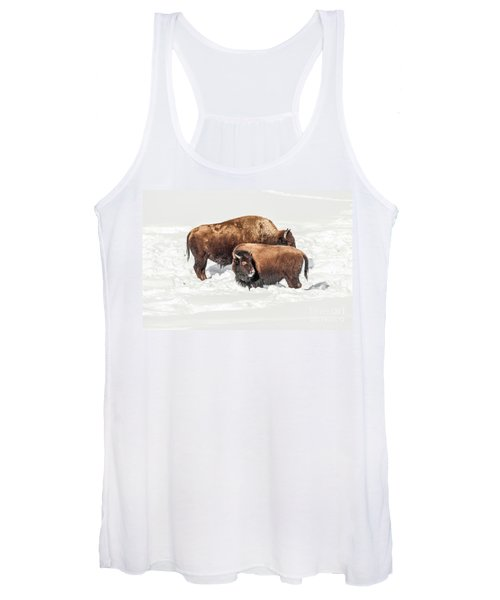 Juvenile Bison With Adult Bison Women's Tank Top