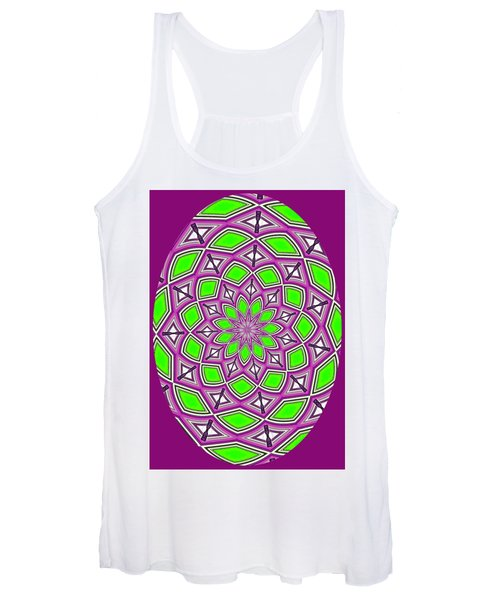 Kaleidoscopic Design Oval In Purple And Lime Green Women's Tank Top