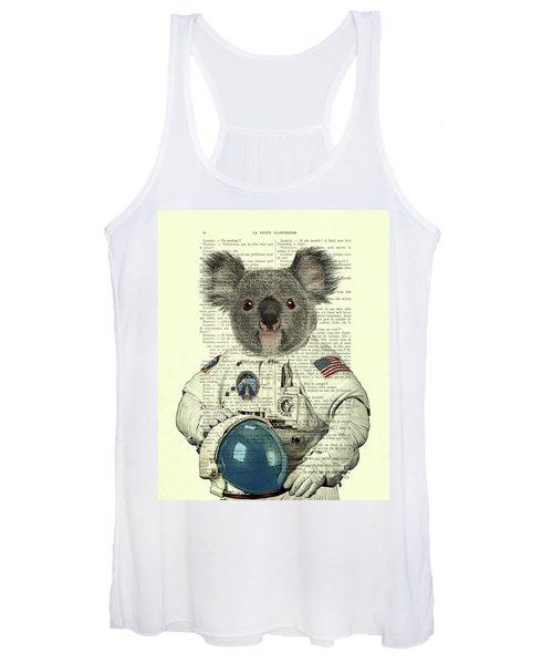 Koala In Space Illustration Women's Tank Top
