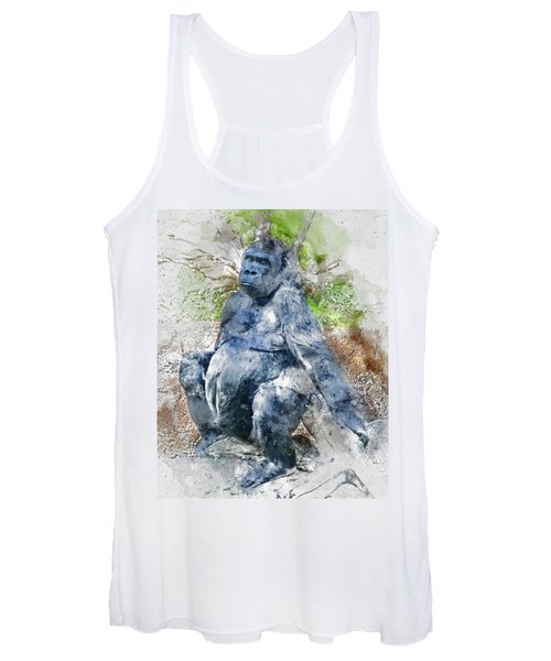Lady Gorilla Sitting Deep In Thought Women's Tank Top