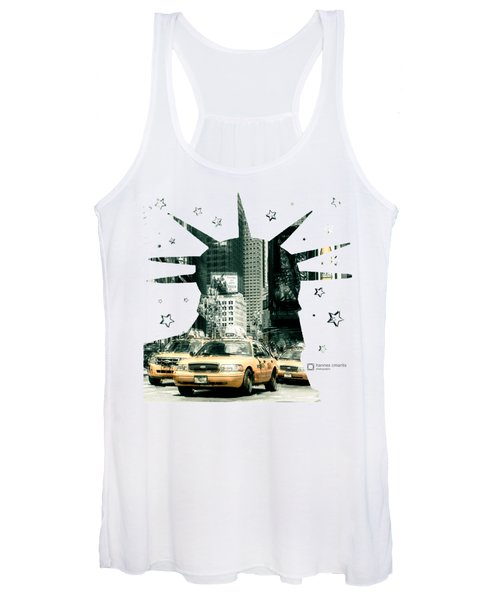 Lady Liberty And The Yellow Cabs Women's Tank Top