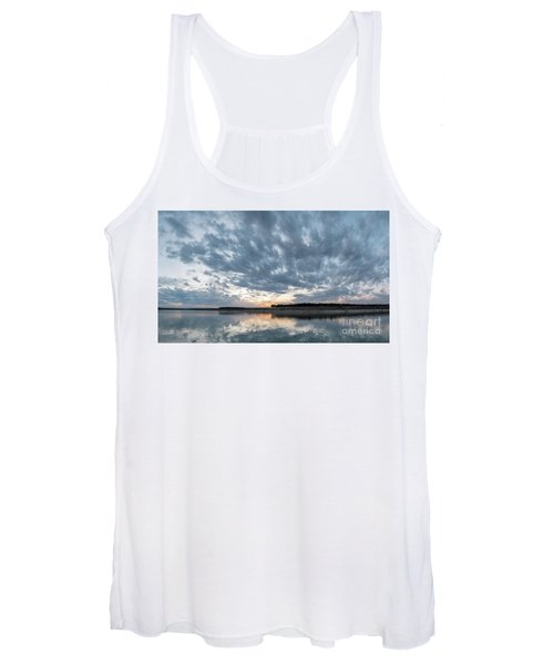 Large Panorama Of Storm Clouds Reflecting On Large Lake At Sunse Women's Tank Top