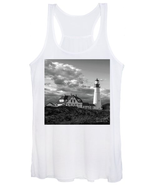 Late Afternoon Clouds, Portland Head Light  -98461-sq Women's Tank Top