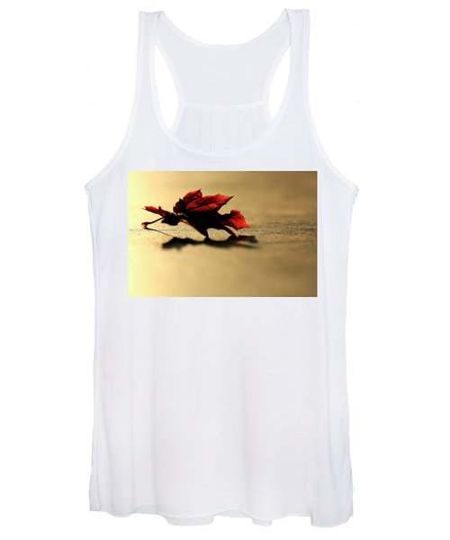 Women's Tank Top featuring the photograph Leaf On The Garage Floor by Bob Cournoyer