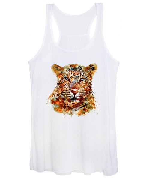 Leopard Head Watercolor Women's Tank Top