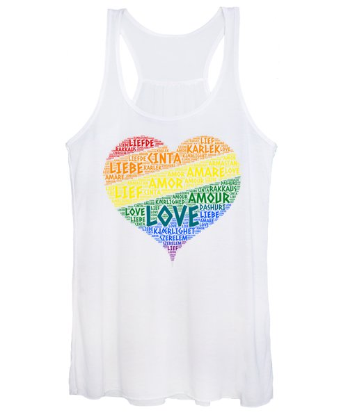 Lgbt Rainbow Hearth Flag Illustrated With Love Word Of Different Languages Women's Tank Top