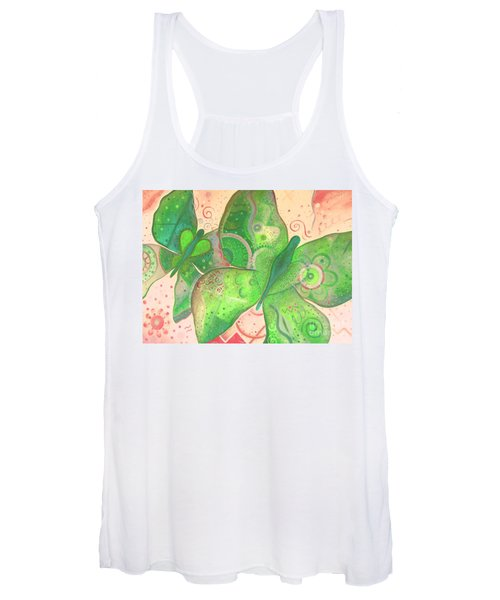 Lighthearted In Green On Red Women's Tank Top