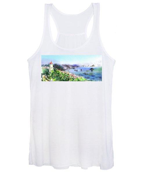 Lighthouse Landscape Watercolor Women's Tank Top