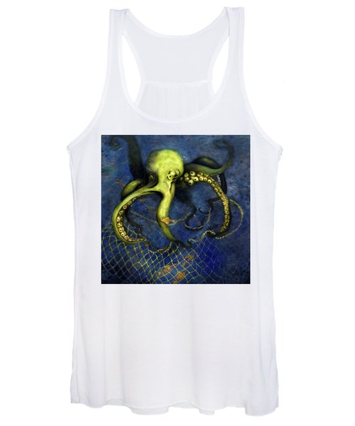 Lime Green Octopus With Net Women's Tank Top