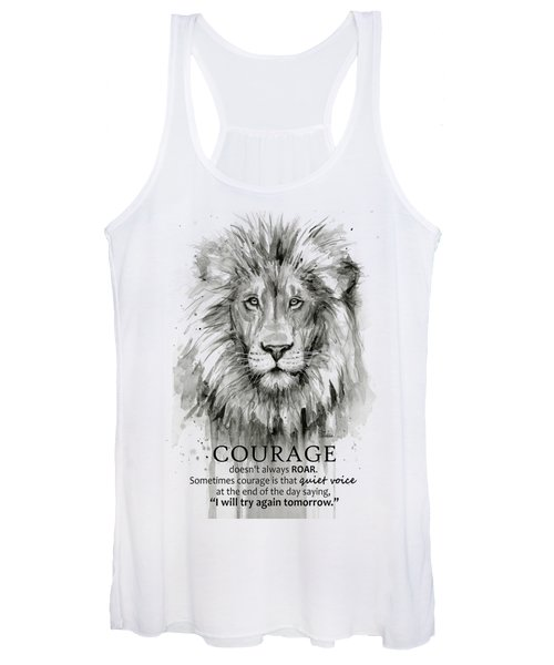 Lion Courage Motivational Quote Watercolor Animal Women's Tank Top
