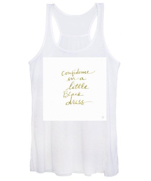 Little Black Dress Gold- Art By Linda Woods Women's Tank Top
