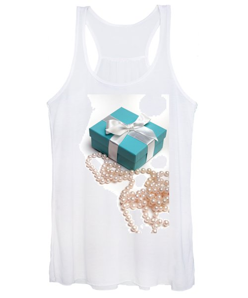 Little Blue Gift Box And Pearls Women's Tank Top
