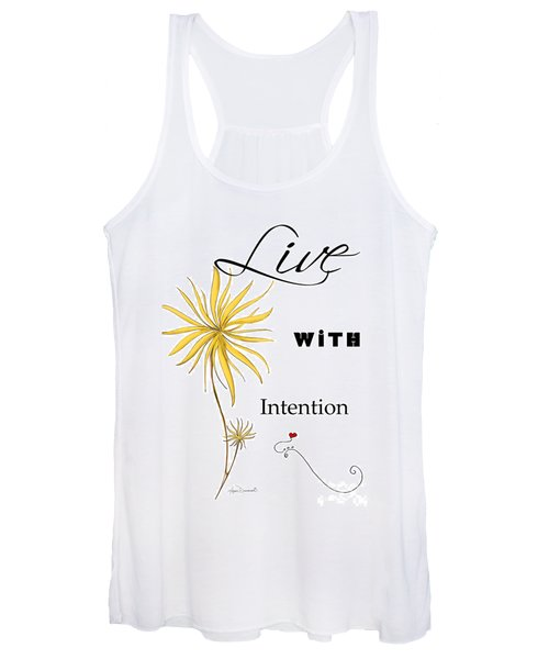 Live With Intention Flower Inspirational Print And Quote By Megan Duncanson Women's Tank Top