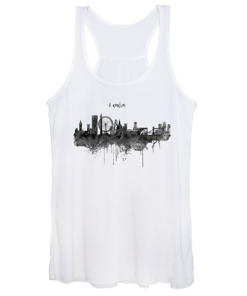London Black And White Skyline Watercolor Women's Tank Top