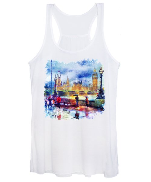 London Rain Watercolor Women's Tank Top