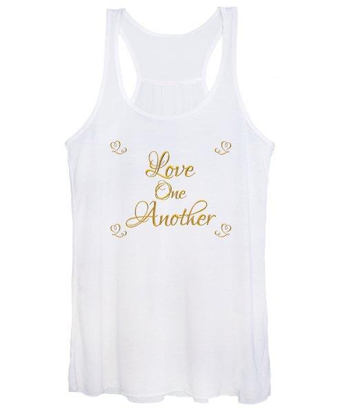 Love One Another Golden 3d Look Script Women's Tank Top