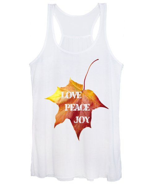 Love Peace Joy Carved On Fall Leaf Women's Tank Top