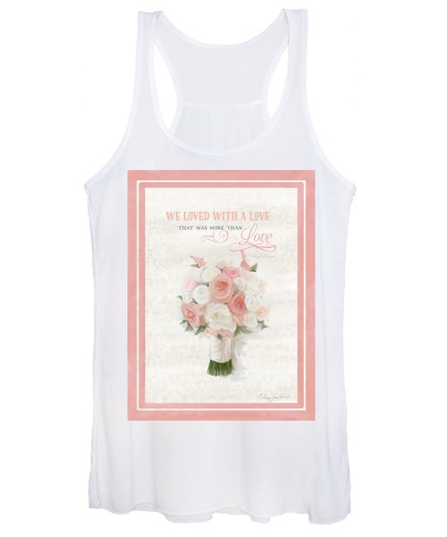 Love Typography Bridal Bouquet Damask Lace Coral Peach Blush Women's Tank Top