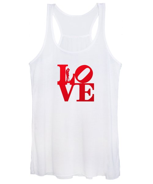 Love Typography - Red On White Women's Tank Top