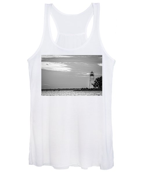 Madisonville Lighthouse In Black-and-white 2 Women's Tank Top