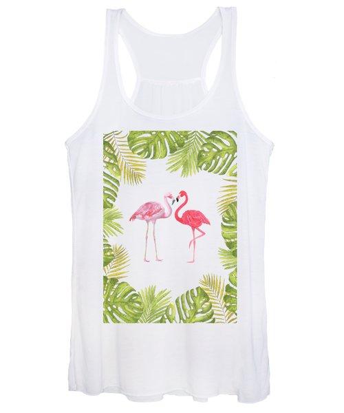 Magical Tropicana Love Flamingos And Leaves Women's Tank Top
