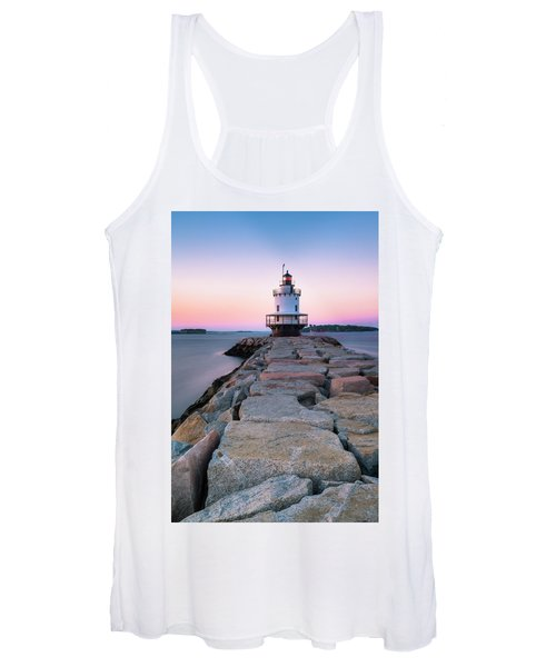 Maine Coastal Sunset Over The Spring Breakwater Lighthouse Women's Tank Top
