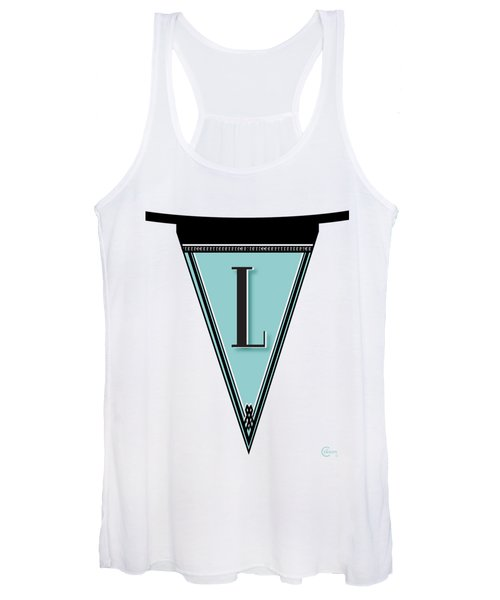 Pennant Deco Blues Banner Initial Letter L Women's Tank Top