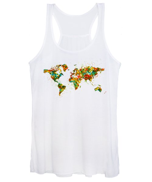 Map Of The World Watercolor Women's Tank Top