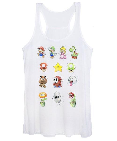 Mario Characters In Watercolor Women's Tank Top