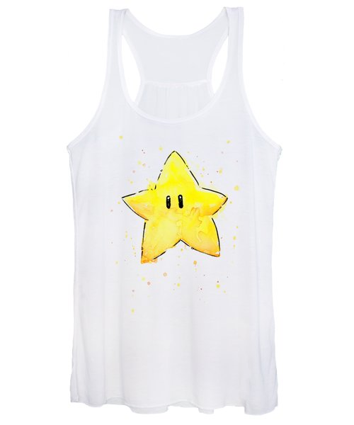 Mario Invincibility Star Watercolor Women's Tank Top