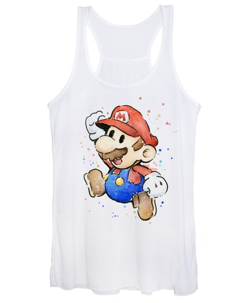 Mario Watercolor Fan Art Women's Tank Top