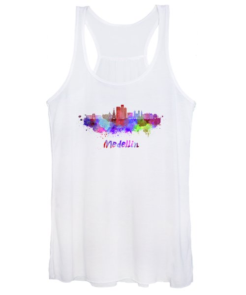 Medellin Skyline In Watercolor Women's Tank Top