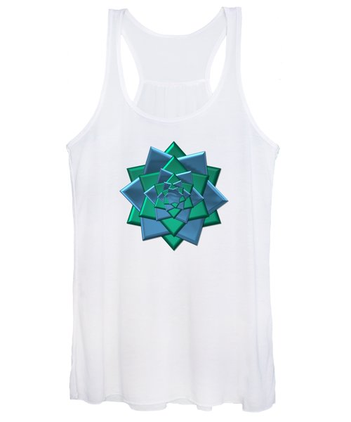 Metallic Blue And Green 3-d Look Gift Bow Women's Tank Top