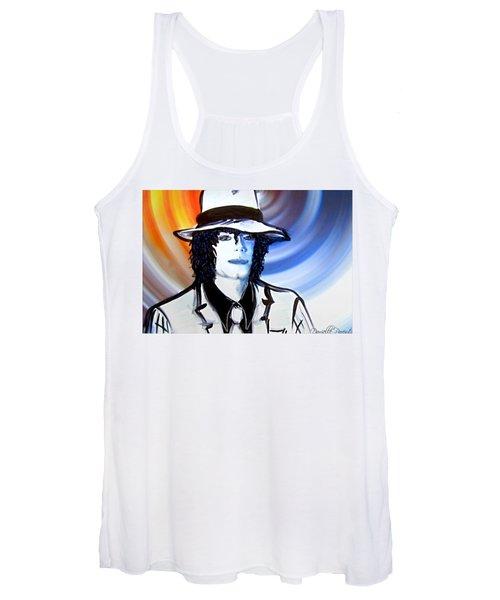 Michael Jackson White Fedora Alcohol Inks Women's Tank Top