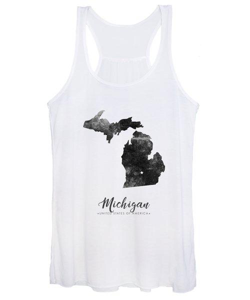 Michigan State Map Art - Grunge Silhouette Women's Tank Top
