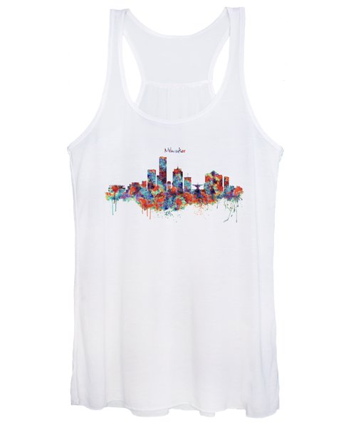 Milwaukee Watercolor Skyline Women's Tank Top