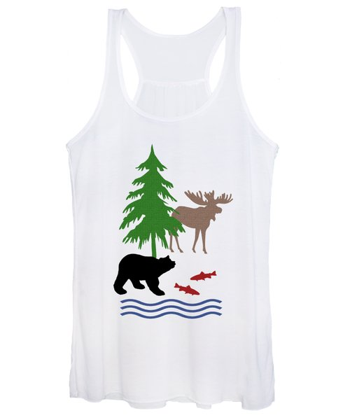 Moose And Bear Pattern Art Women's Tank Top