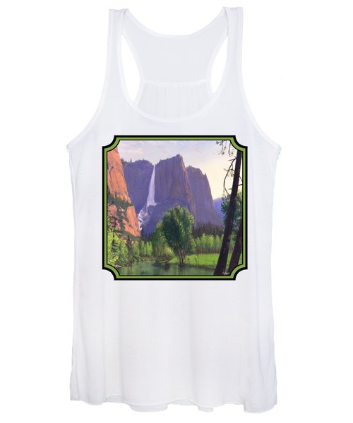 Mountains Waterfall Stream Western Landscape - Square Format Women's Tank Top